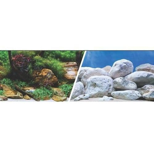 Marina Double Sided Aquarium Background, Aquatic Garden/Bright Stone